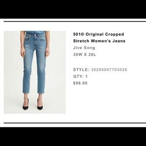 501 Original Cropped Stretch Jeans Jive Song
